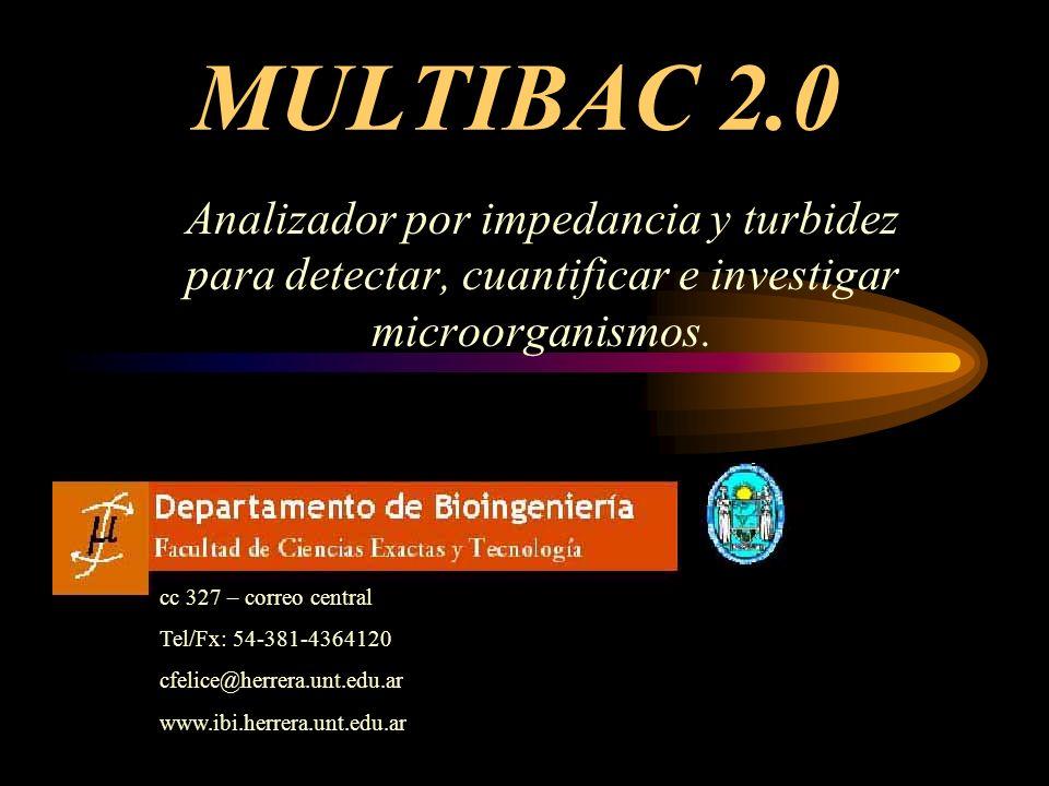 MULTIBAC 2.0 Analizador por impedancia y turbidez para detectar, cuantificar e investigar microorganismos.