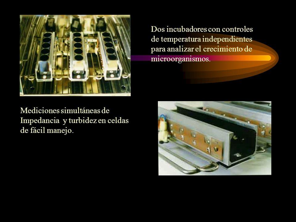 Dos incubadores con controles de temperatura independientes para analizar el crecimiento de microorganismos.
