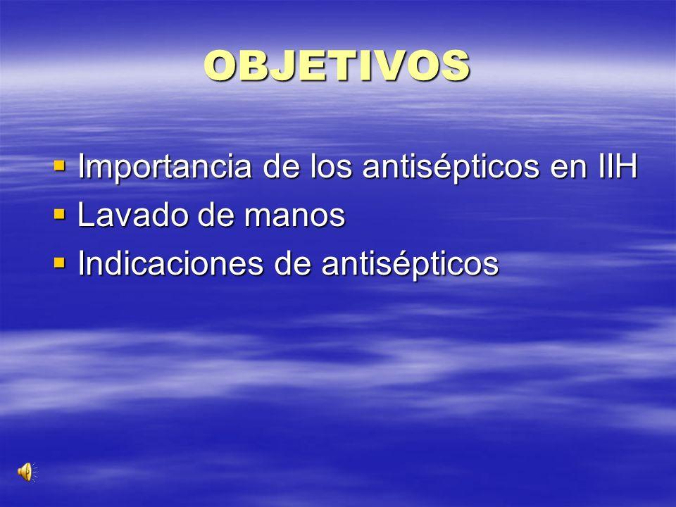 OBJETIVOS Importancia de los antisépticos en IIH Lavado de manos