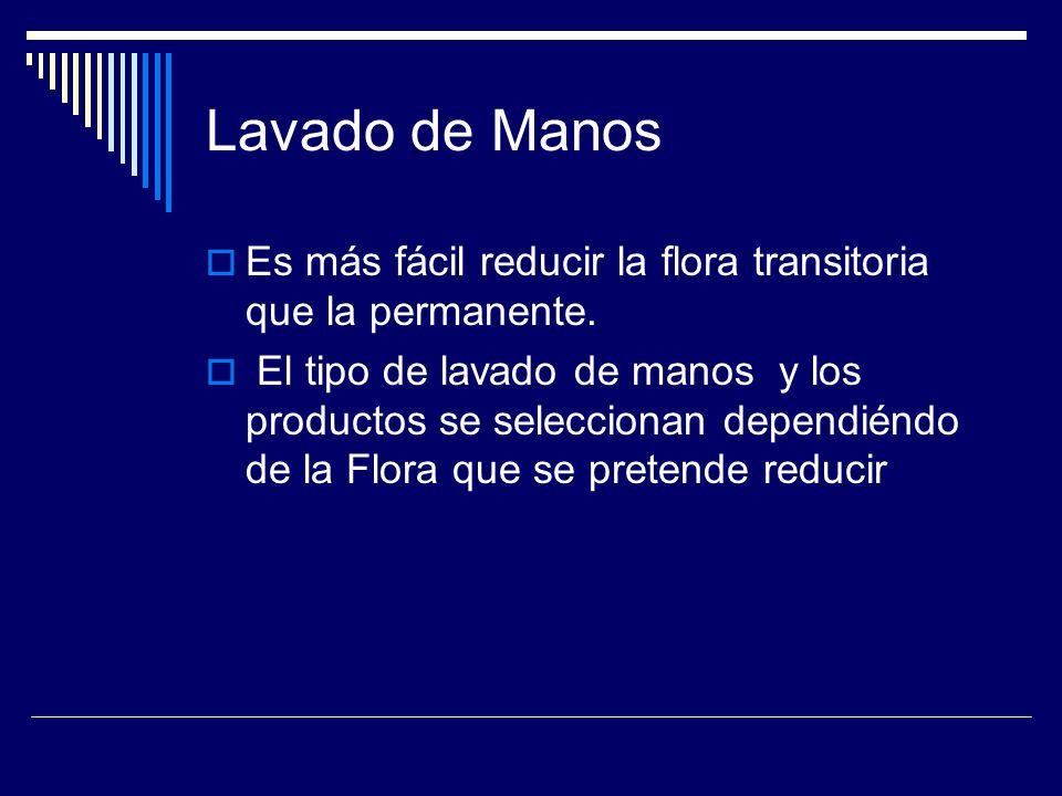 Lavado de Manos Es más fácil reducir la flora transitoria que la permanente.