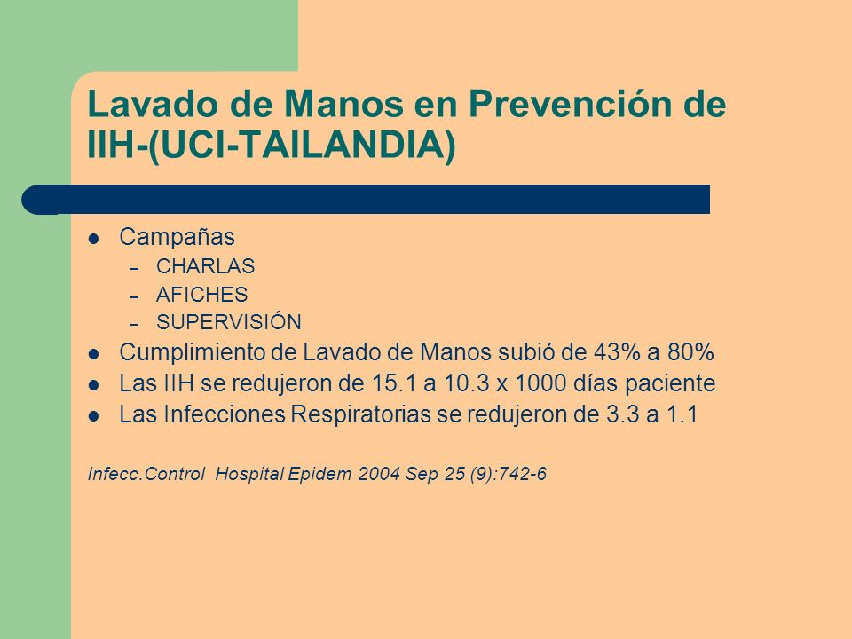 Lavado de Manos en Prevención de IIH-(UCI-TAILANDIA)