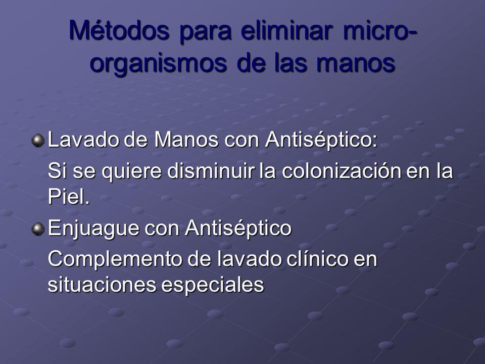 Métodos para eliminar micro-organismos de las manos