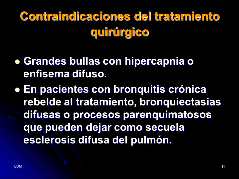 Contraindicaciones del tratamiento quirúrgico