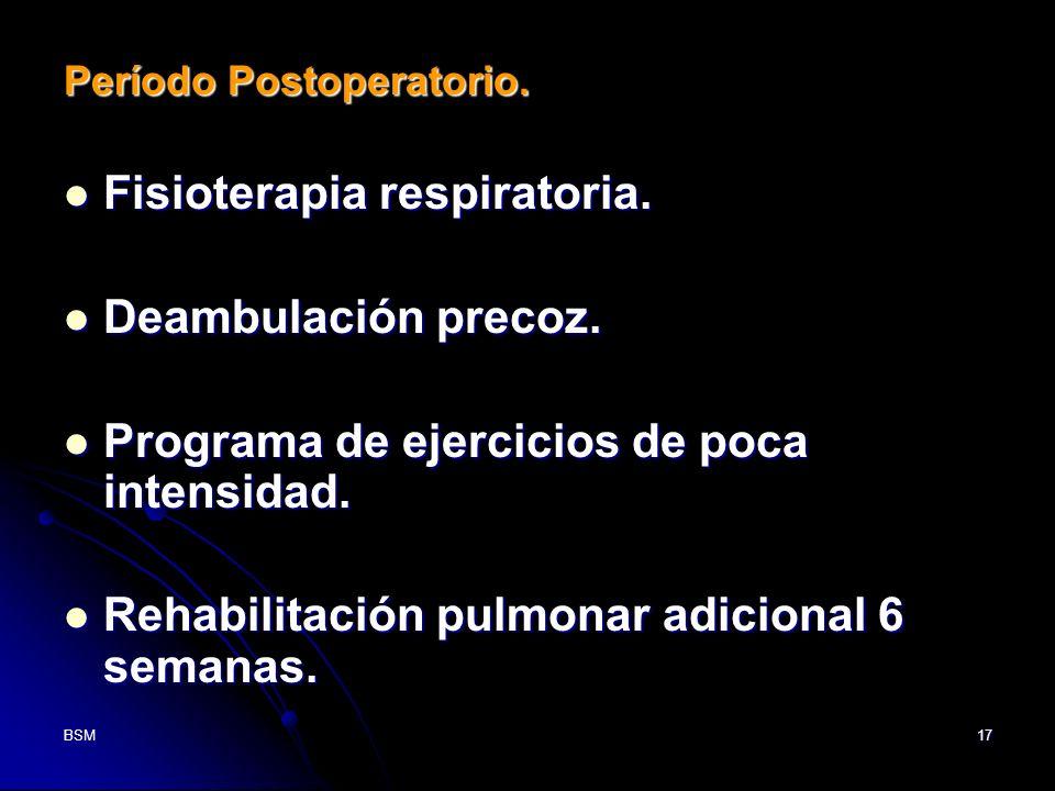 Fisioterapia respiratoria. Deambulación precoz.