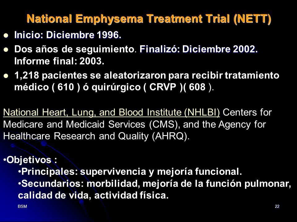 National Emphysema Treatment Trial (NETT)