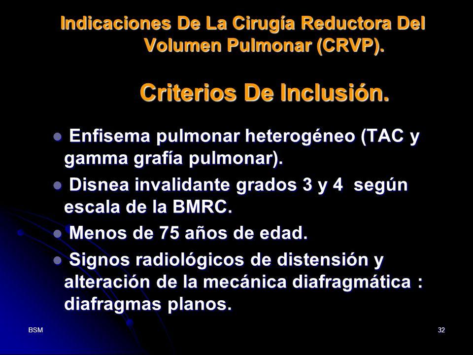Enfisema pulmonar heterogéneo (TAC y gamma grafía pulmonar).
