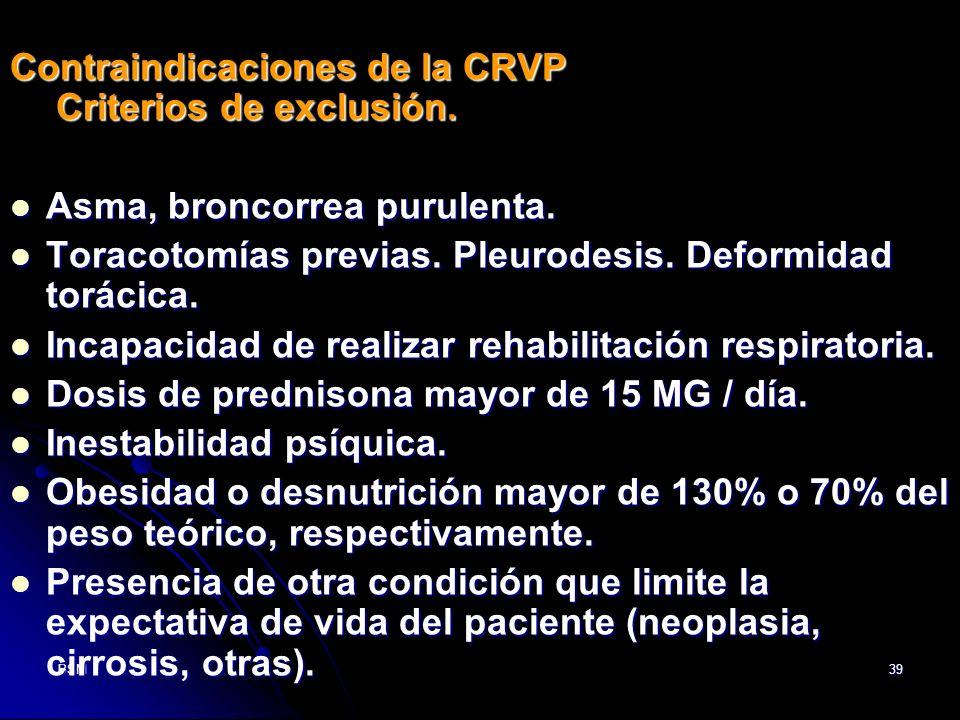 Contraindicaciones de la CRVP Criterios de exclusión.