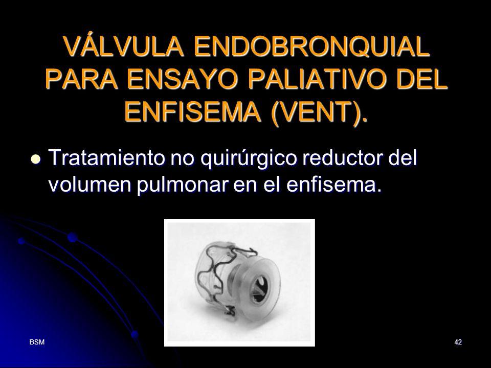 VÁLVULA ENDOBRONQUIAL PARA ENSAYO PALIATIVO DEL ENFISEMA (VENT).