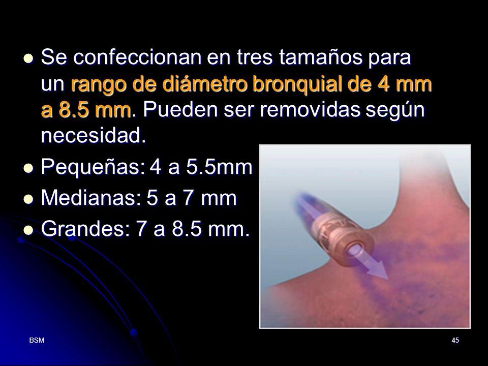 Se confeccionan en tres tamaños para un rango de diámetro bronquial de 4 mm a 8.5 mm. Pueden ser removidas según necesidad.
