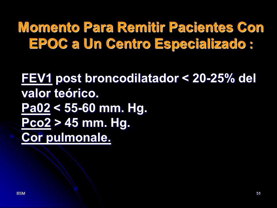 Momento Para Remitir Pacientes Con EPOC a Un Centro Especializado :