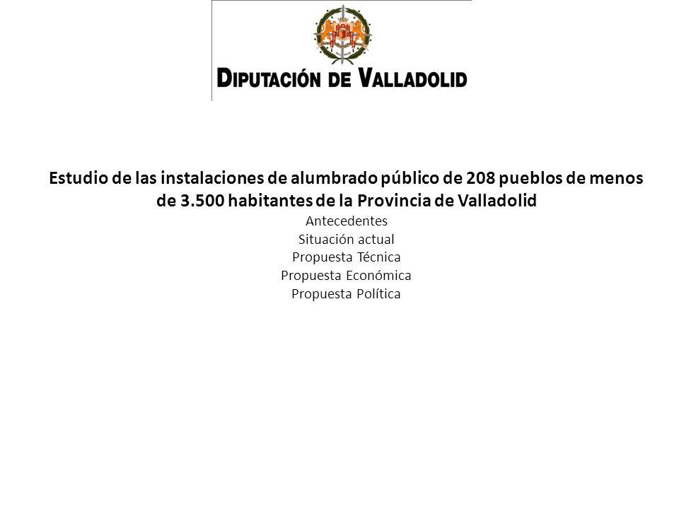 Estudio de las instalaciones de alumbrado público de 208 pueblos de menos de 3.500 habitantes de la Provincia de Valladolid