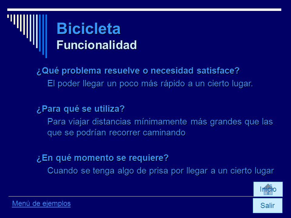 Bicicleta Funcionalidad