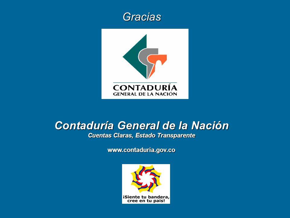 Gracias Contaduría General de la Nación Cuentas Claras, Estado Transparente www.contaduria.gov.co