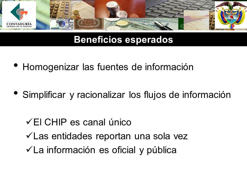 Beneficios esperados Homogenizar las fuentes de información. Simplificar y racionalizar los flujos de información.