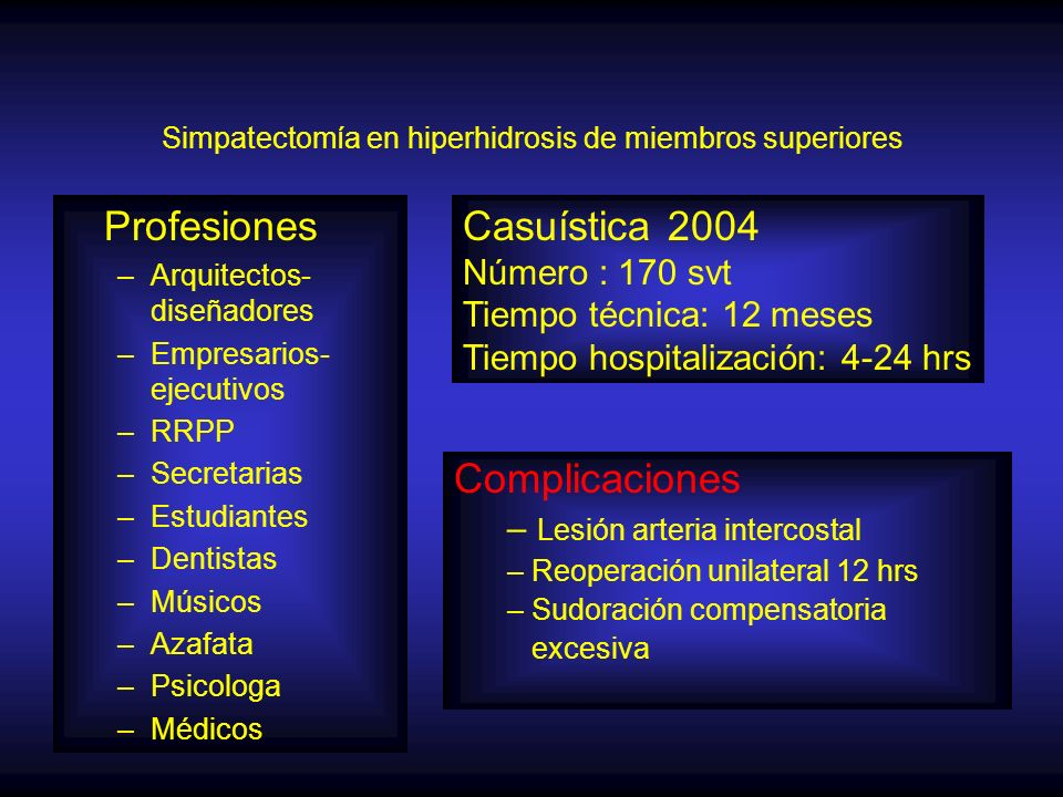 Simpatectomía en hiperhidrosis de miembros superiores
