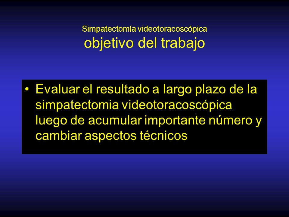 Simpatectomía videotoracoscópica objetivo del trabajo