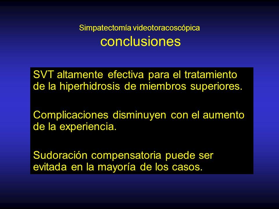 Simpatectomía videotoracoscópica conclusiones