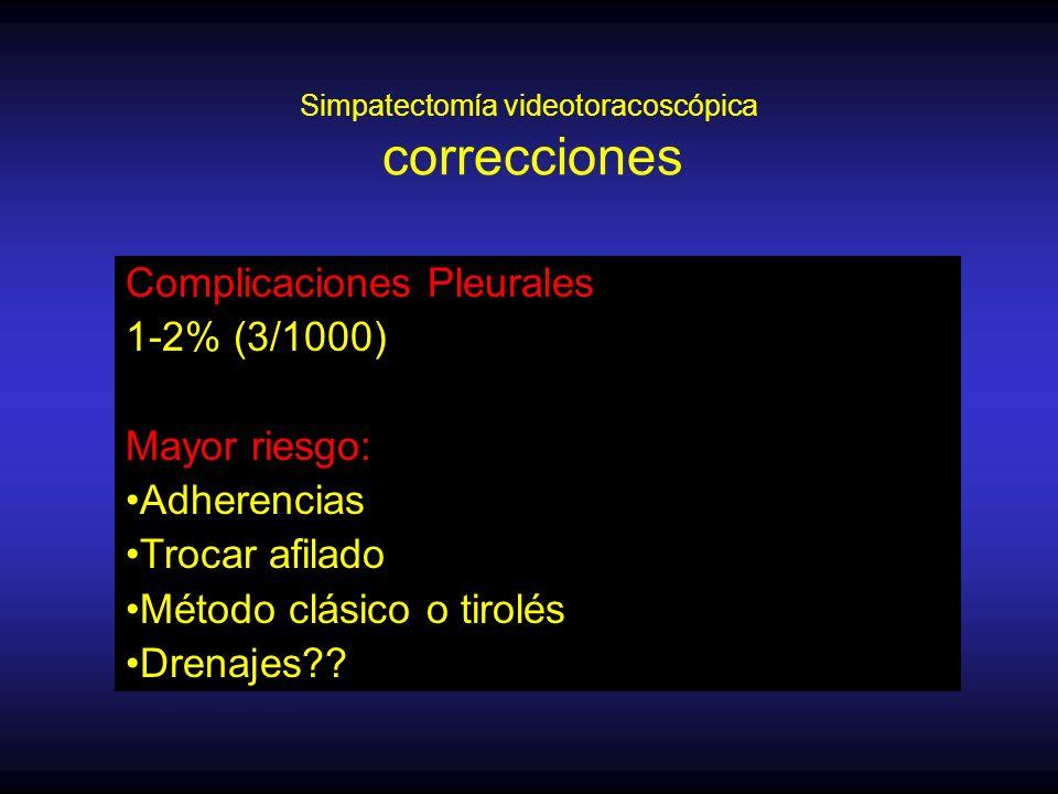 Simpatectomía videotoracoscópica correcciones