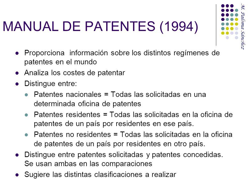 MANUAL DE PATENTES (1994) Proporciona información sobre los distintos regímenes de patentes en el mundo.