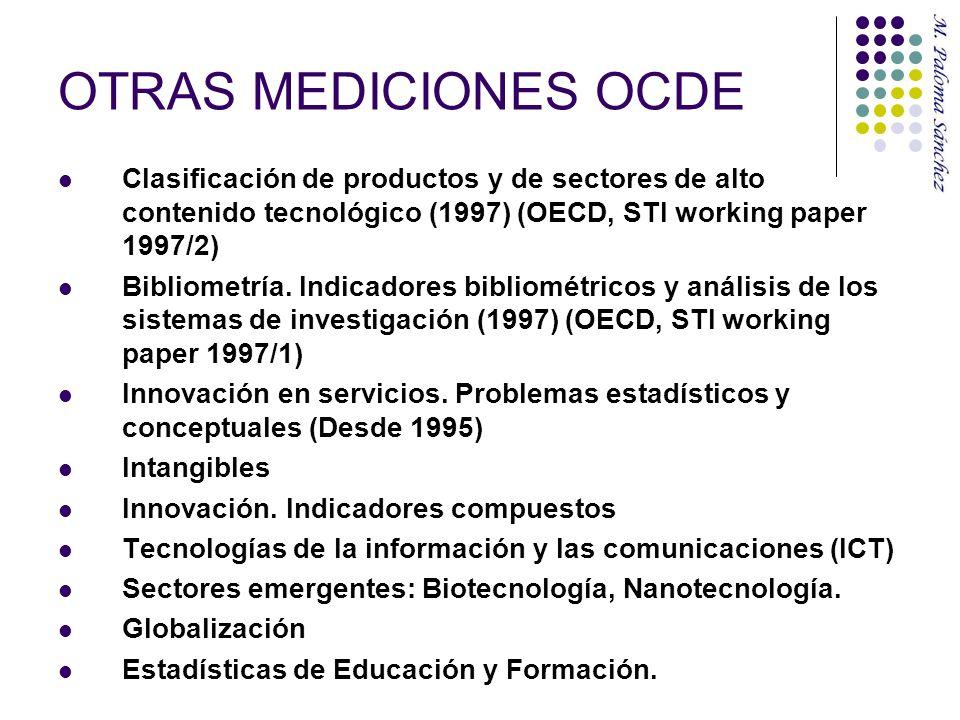 OTRAS MEDICIONES OCDE Clasificación de productos y de sectores de alto contenido tecnológico (1997) (OECD, STI working paper 1997/2)