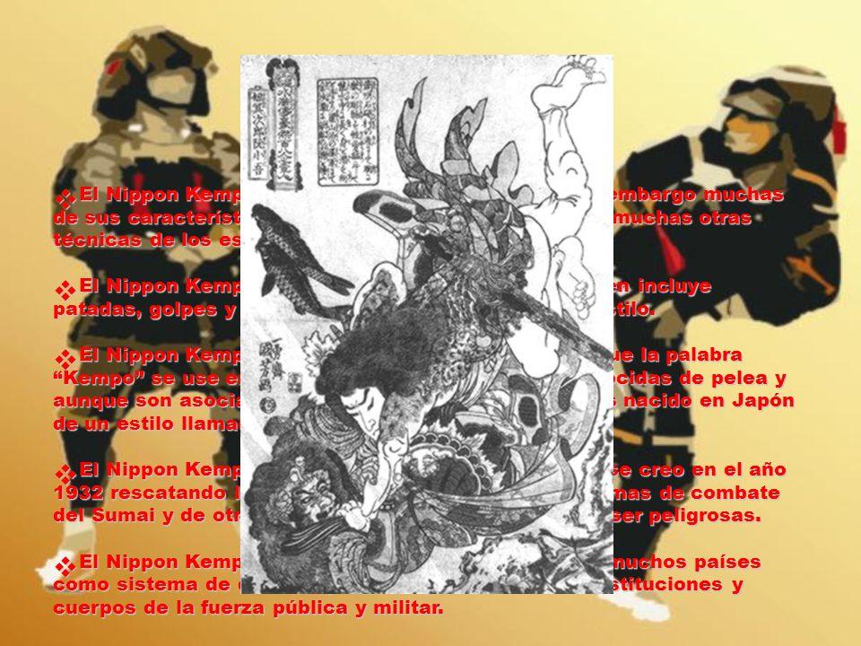 El Nippon Kempo _No_ se origina del Ju-Jutsu, sin embargo muchas de sus características _si_ están incluidas y también muchas otras técnicas de los estilos más recientes de combate.