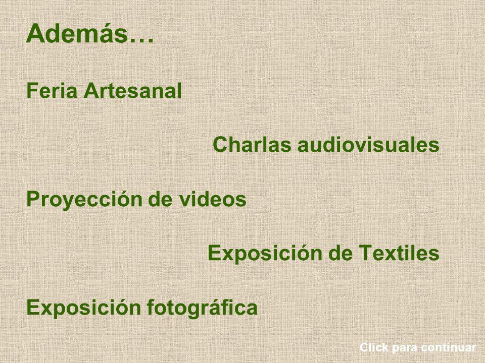 Además… Feria Artesanal Charlas audiovisuales Proyección de videos