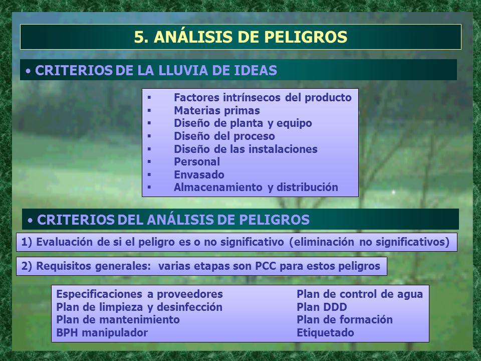 5. ANÁLISIS DE PELIGROS CRITERIOS DE LA LLUVIA DE IDEAS