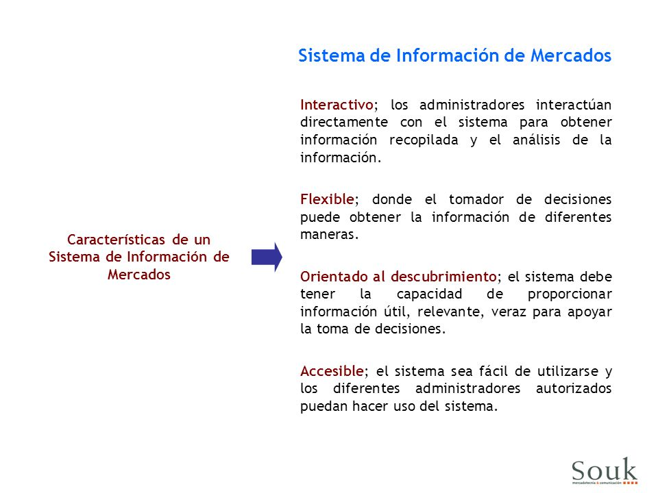 Características de un Sistema de Información de Mercados