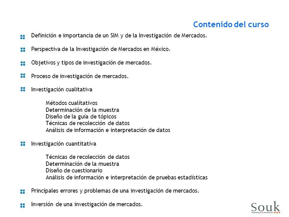 Contenido del curso Definición e importancia de un SIM y de la Investigación de Mercados. Perspectiva de la Investigación de Mercados en México.