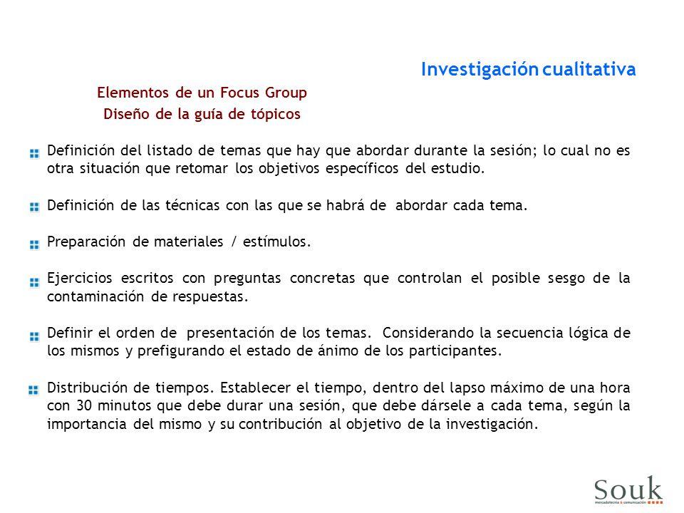 Elementos de un Focus Group Diseño de la guía de tópicos