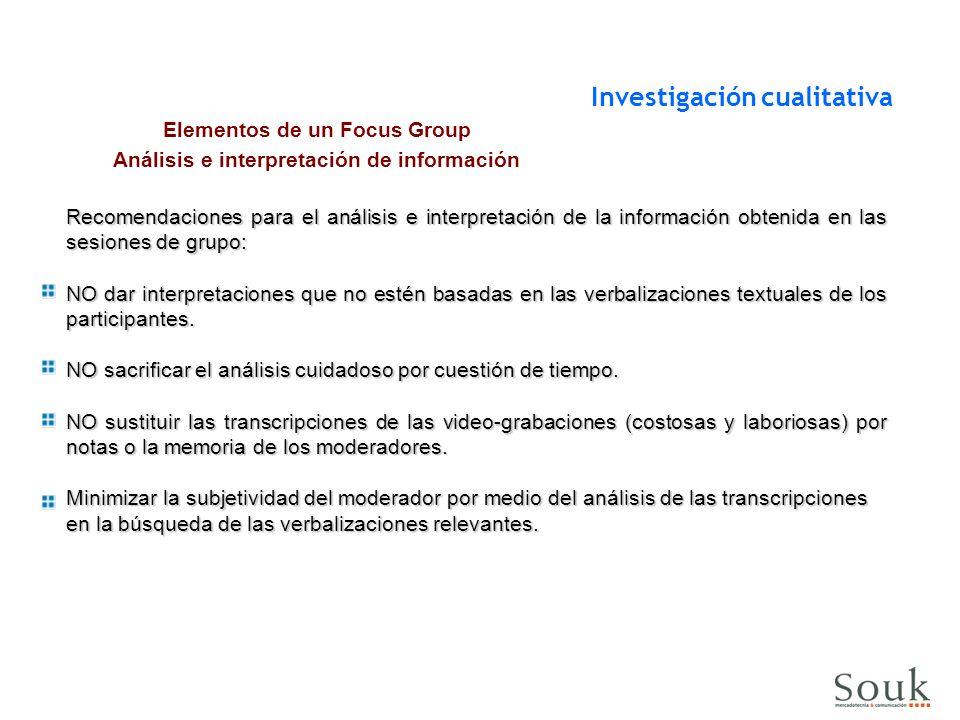 Elementos de un Focus Group Análisis e interpretación de información
