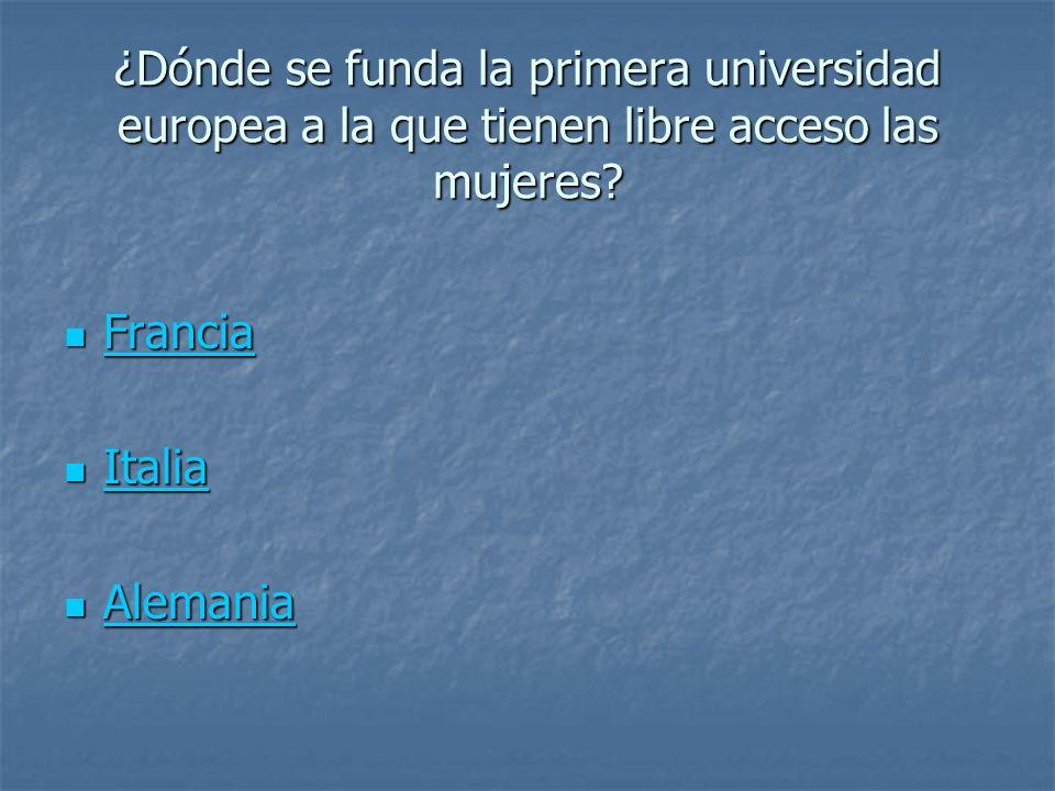 ¿Dónde se funda la primera universidad europea a la que tienen libre acceso las mujeres