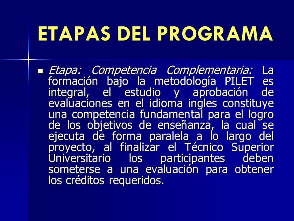 ETAPAS DEL PROGRAMA