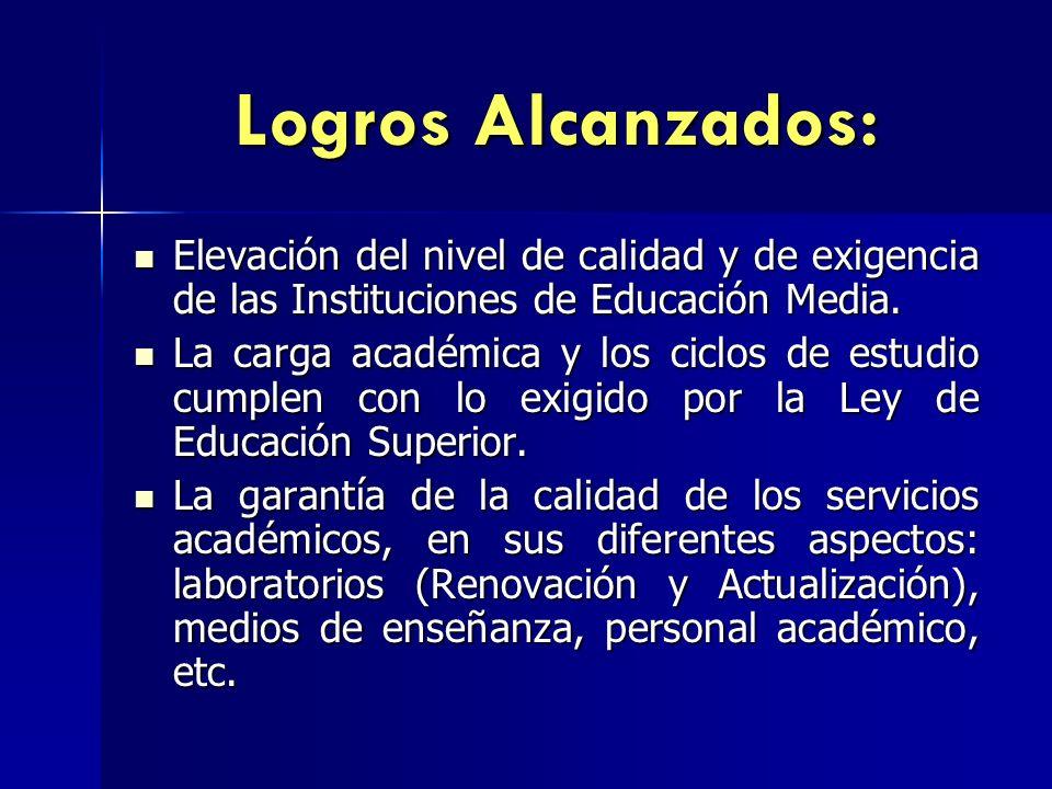 Logros Alcanzados: Elevación del nivel de calidad y de exigencia de las Instituciones de Educación Media.