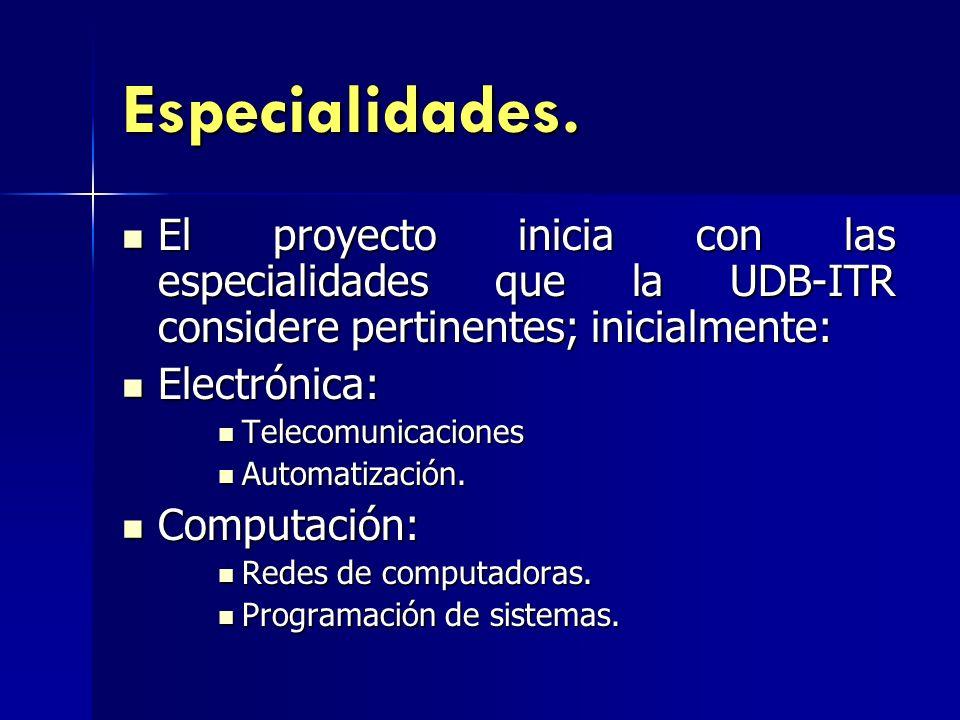 Especialidades. El proyecto inicia con las especialidades que la UDB-ITR considere pertinentes; inicialmente: