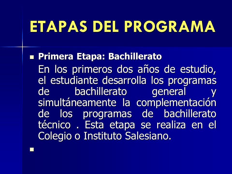 ETAPAS DEL PROGRAMA Primera Etapa: Bachillerato