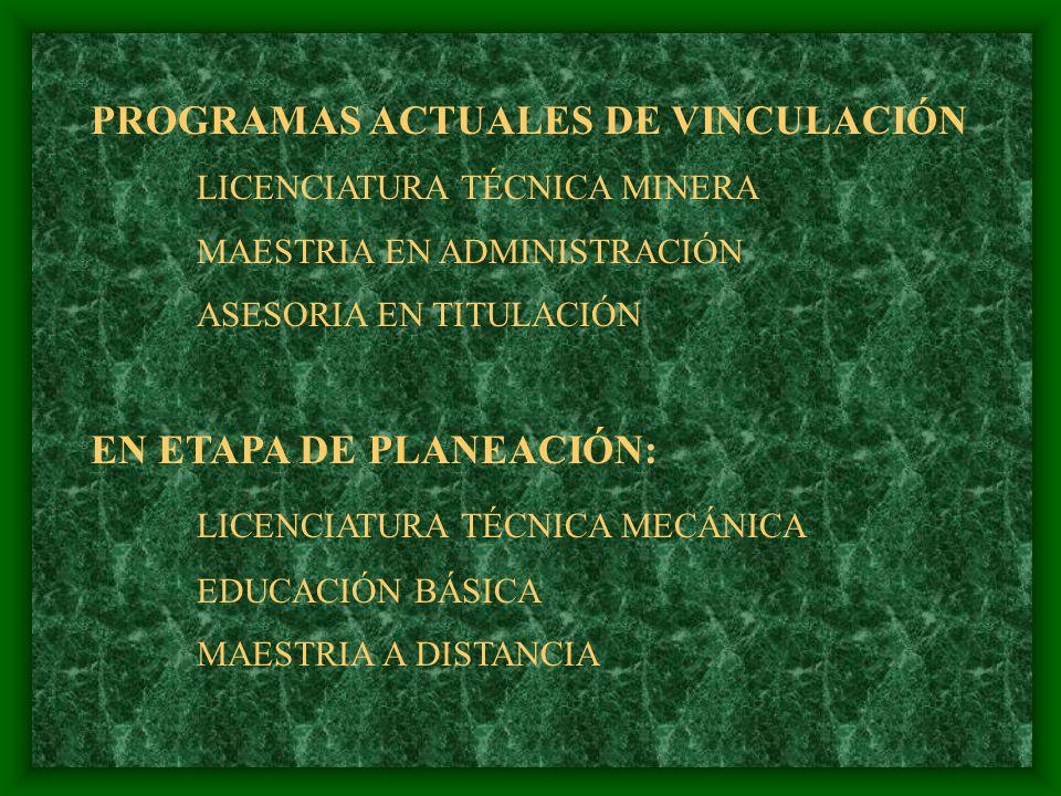 PROGRAMAS ACTUALES DE VINCULACIÓN
