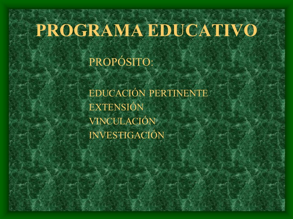 PROGRAMA EDUCATIVO PROPÓSITO: EDUCACIÓN PERTINENTE EXTENSIÓN