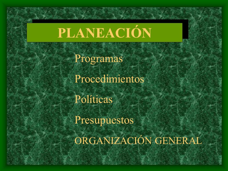 PLANEACIÓN Procedimientos Políticas Presupuestos ORGANIZACIÓN GENERAL