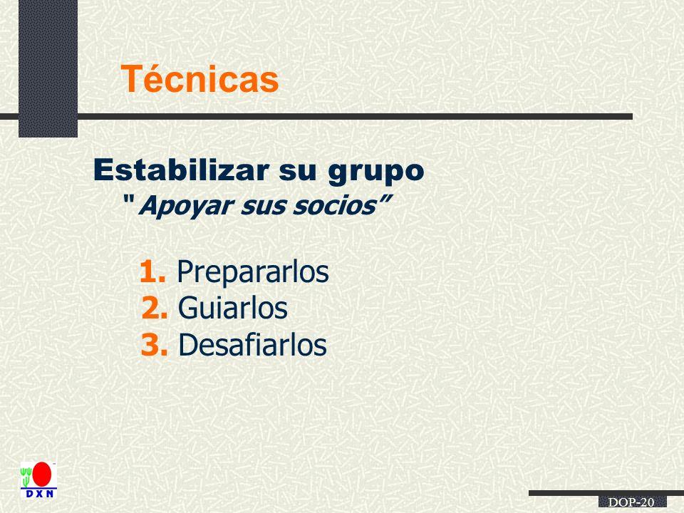 Técnicas Estabilizar su grupo 2. Guiarlos 3. Desafiarlos