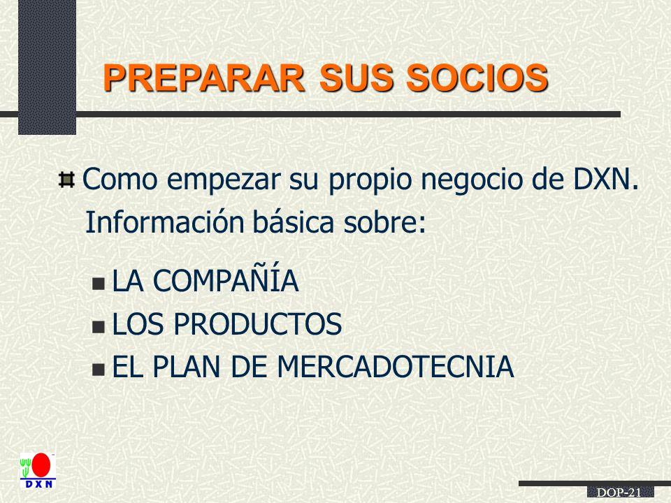 PREPARAR SUS SOCIOS Como empezar su propio negocio de DXN.