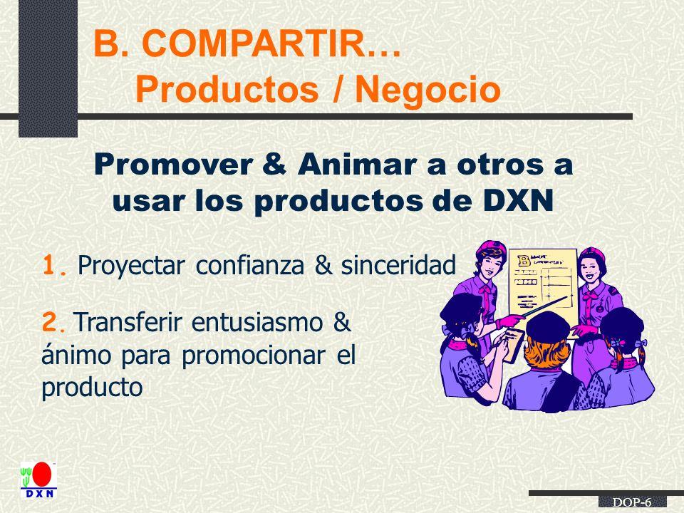 Promover & Animar a otros a usar los productos de DXN