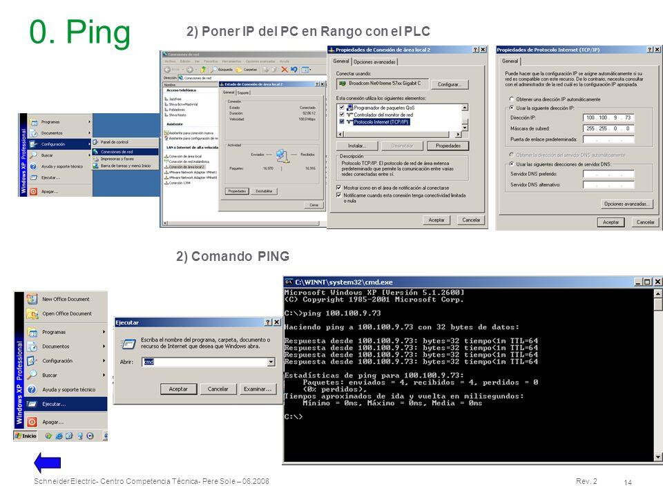 0. Ping 2) Poner IP del PC en Rango con el PLC 2) Comando PING