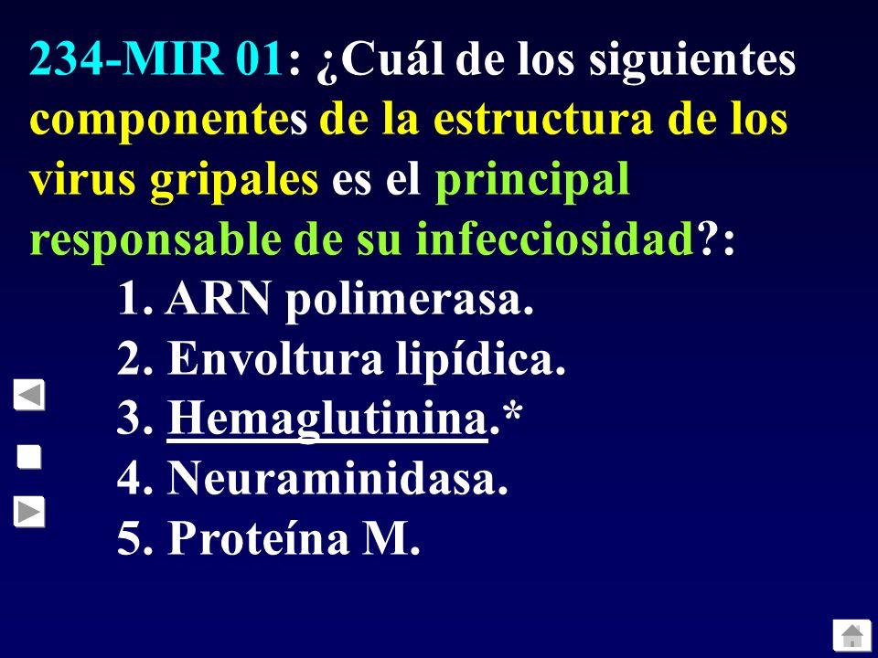 234-MIR 01: ¿Cuál de los siguientes componentes de la estructura de los virus gripales es el principal responsable de su infecciosidad :