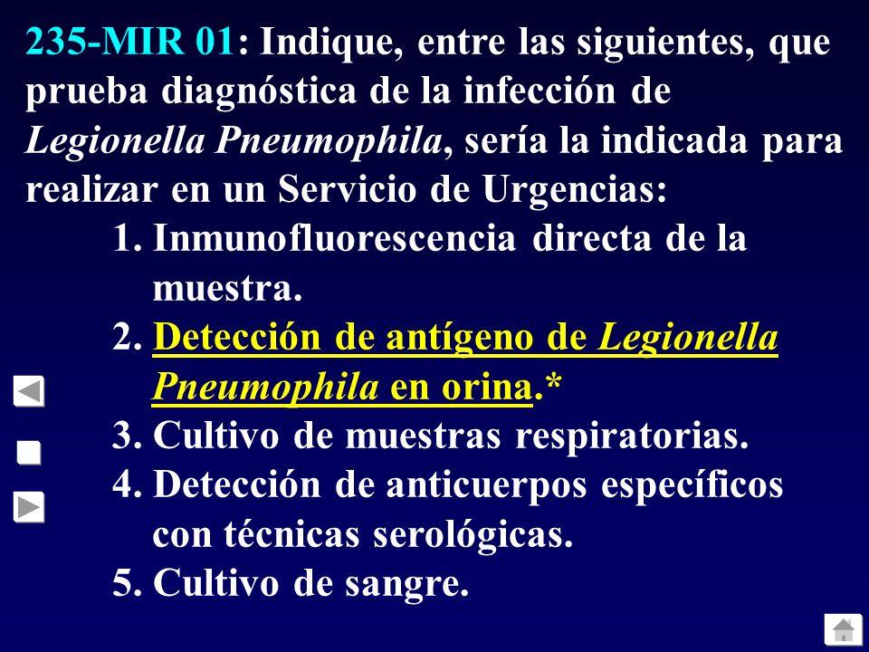 235-MIR 01: Indique, entre las siguientes, que prueba diagnóstica de la infección de Legionella Pneumophila, sería la indicada para realizar en un Servicio de Urgencias: