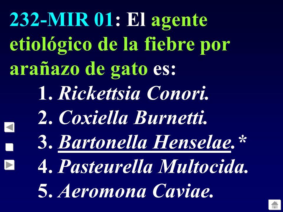 232-MIR 01: El agente etiológico de la fiebre por arañazo de gato es: