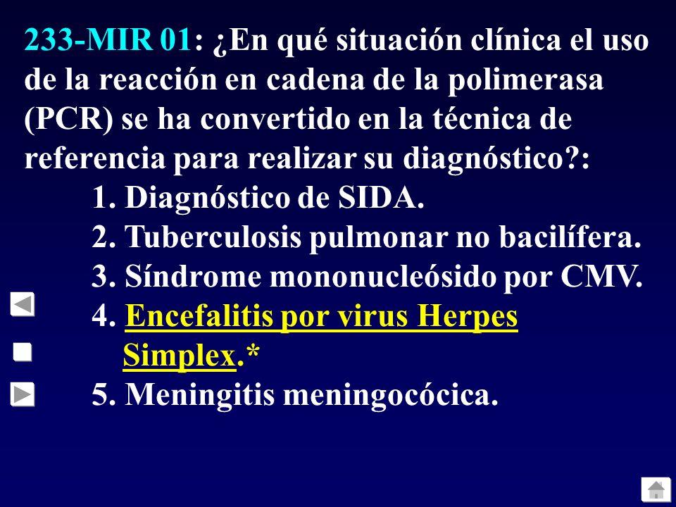 233-MIR 01: ¿En qué situación clínica el uso de la reacción en cadena de la polimerasa (PCR) se ha convertido en la técnica de referencia para realizar su diagnóstico :
