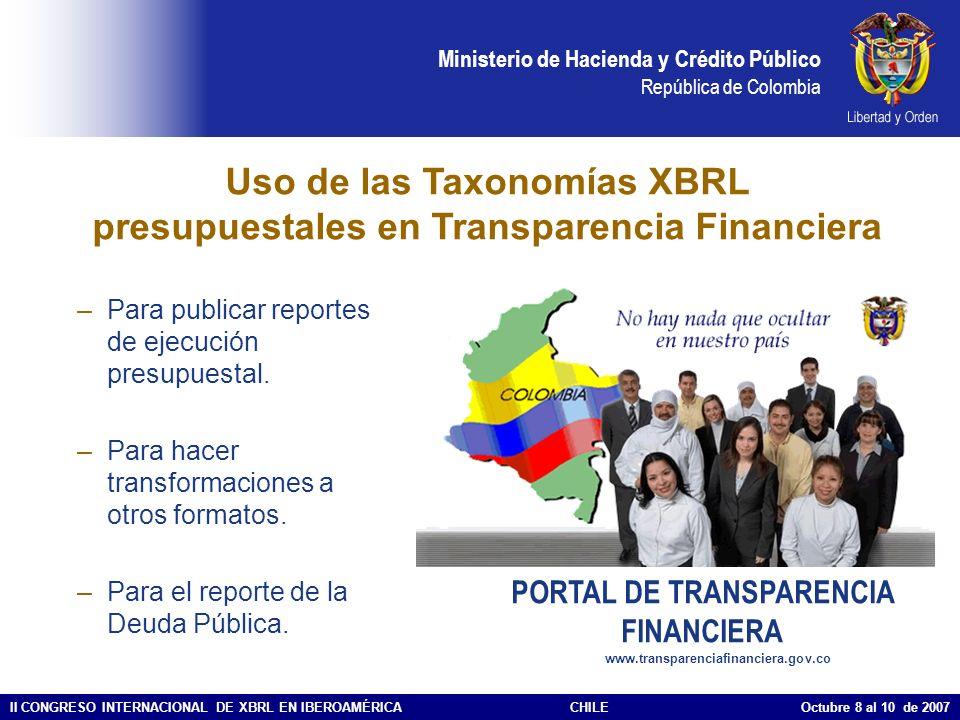 Uso de las Taxonomías XBRL presupuestales en Transparencia Financiera