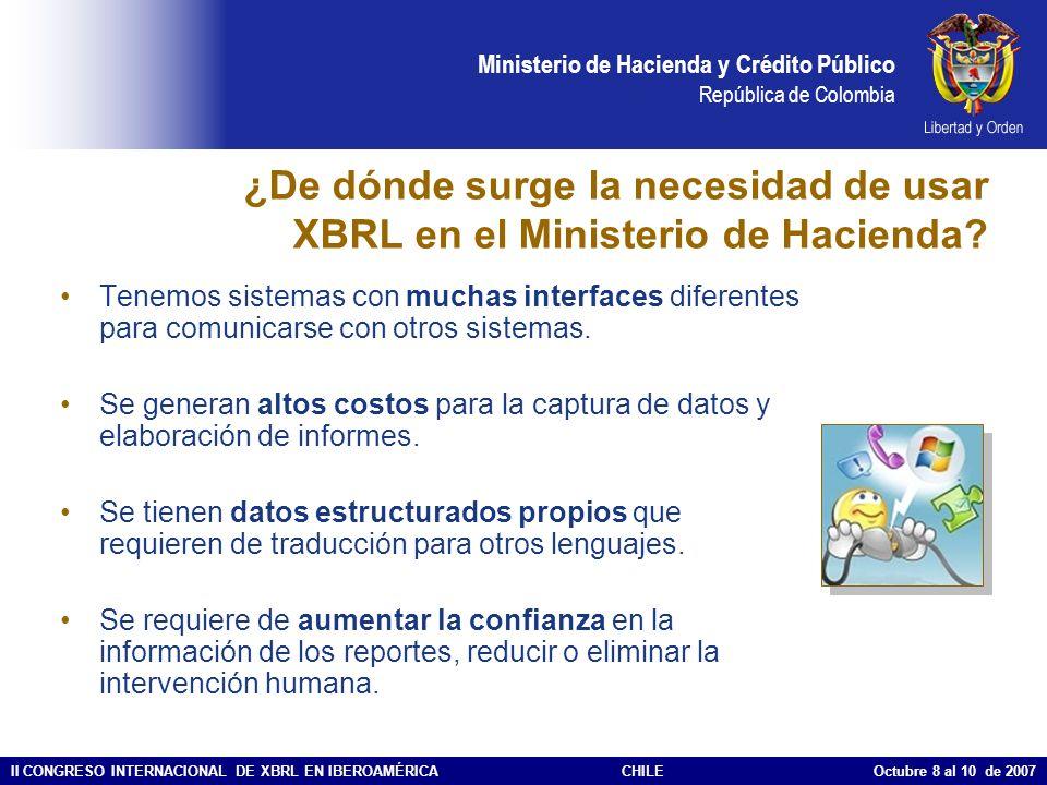 ¿De dónde surge la necesidad de usar XBRL en el Ministerio de Hacienda