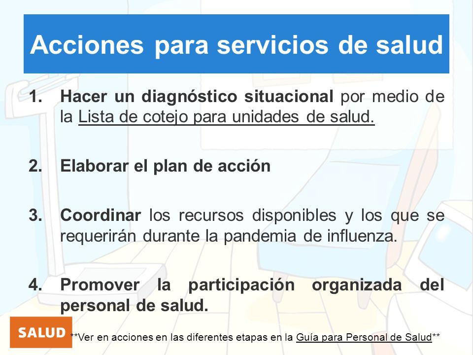 Acciones para servicios de salud